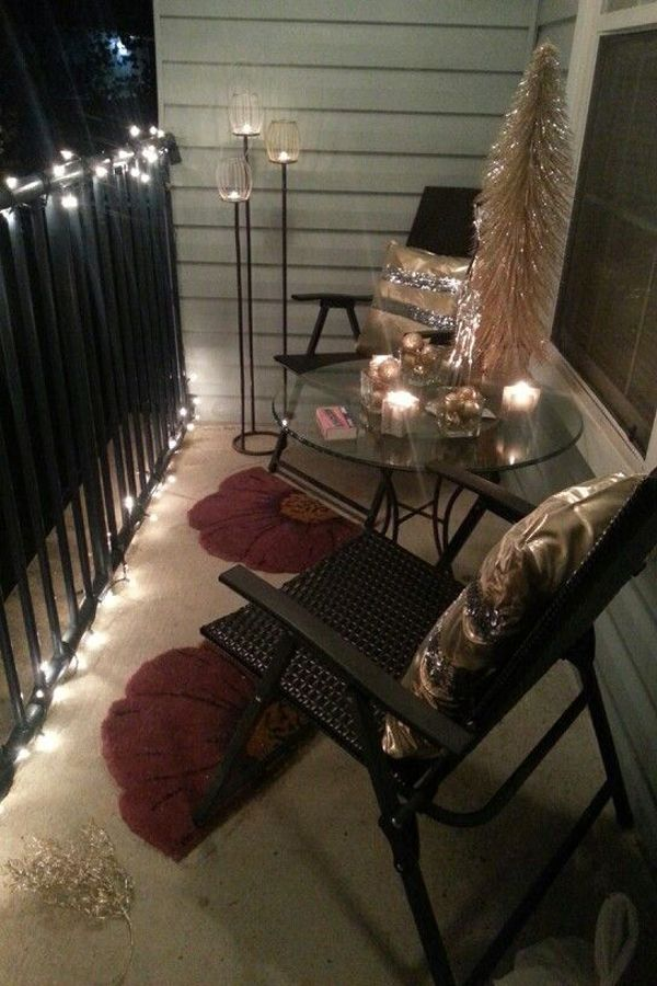 small balcony lighting ideas - Apartment Balcony Christmas Decorating Ideas