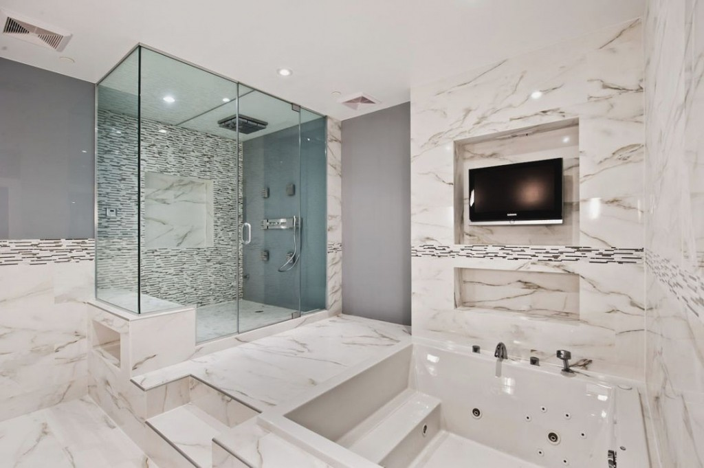 Beautiful Marble covered bathroom