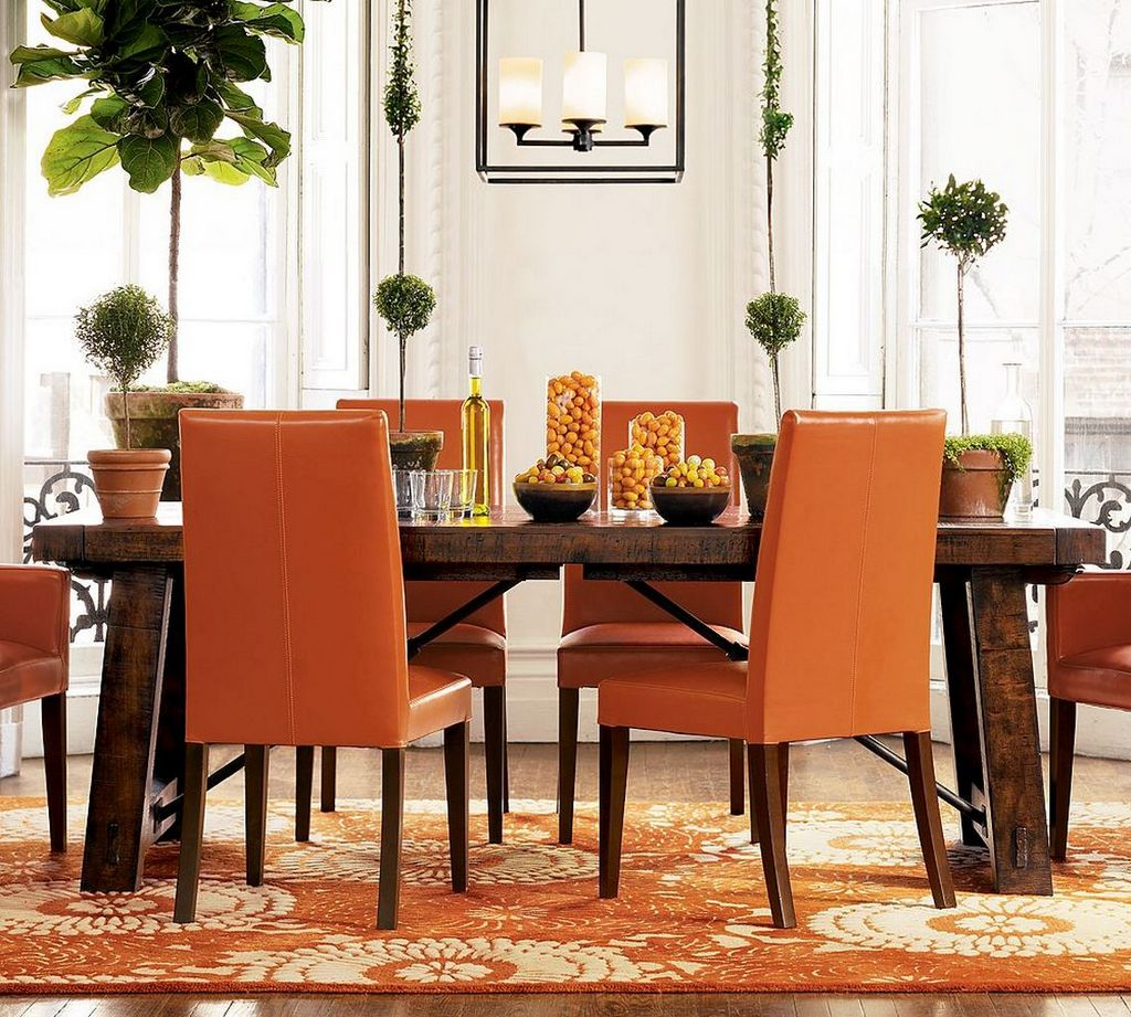 Colorful-Dining-Room-Colors-With-wooden-dining-table-and-orange-chairs-design