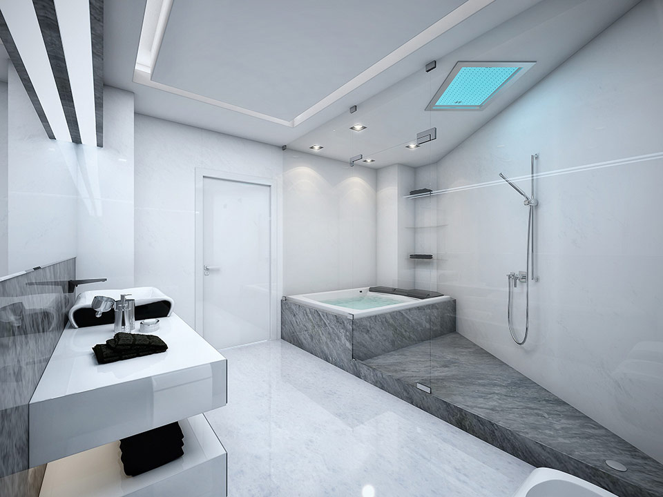Modern Bathroom Design Ideas With Marble Flooring And Small Floating Glass Shelves