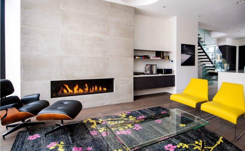 Sophisticated Modern Living Room with Modern Marble Fireplace