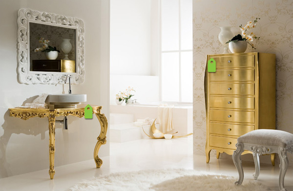 Bathroom with golden drawer and sink.