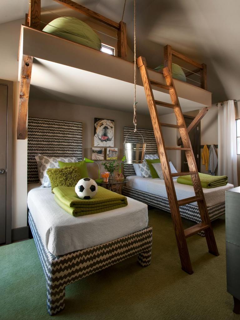 Neutral Kid's Bedroom With Rustic Loft