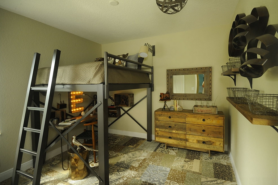 Stylish kids bedroom with rustic and industrial touches