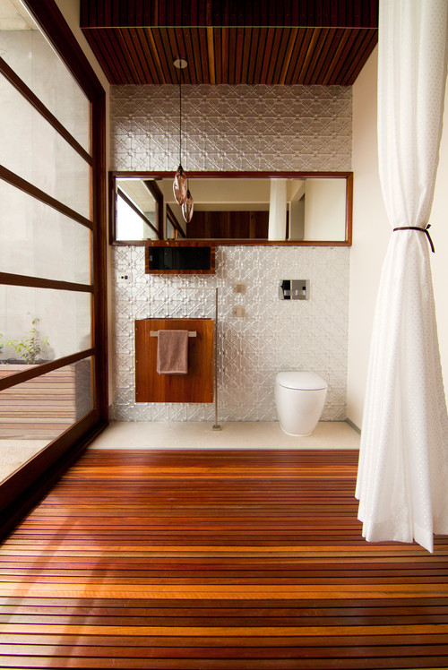 contemporary duckboard flooring bathroom