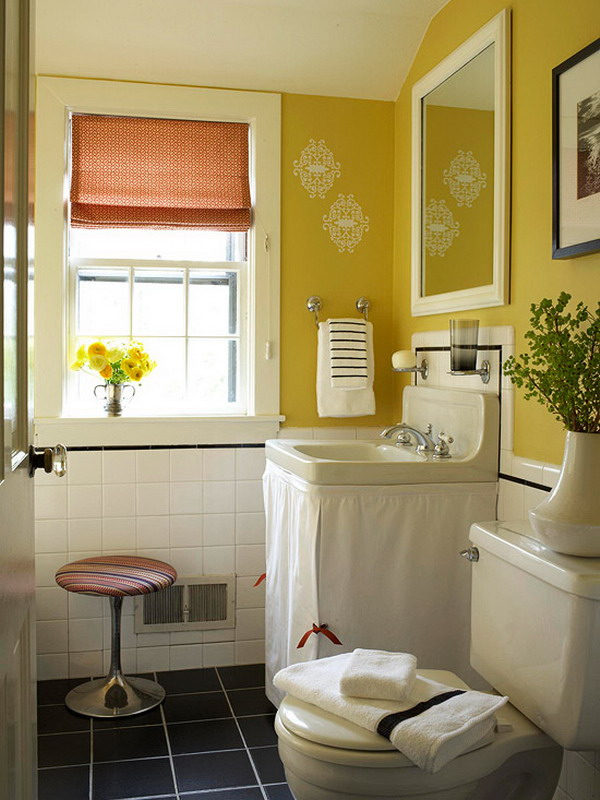 cheerful yellow bathroom color - Small Bathroom Design Ideas Color Schemes