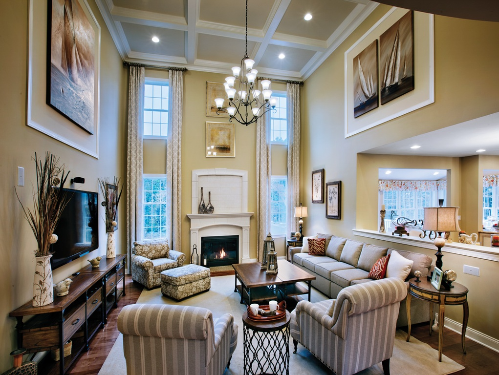 30 luxury living room design ideas for Two story living room house plans