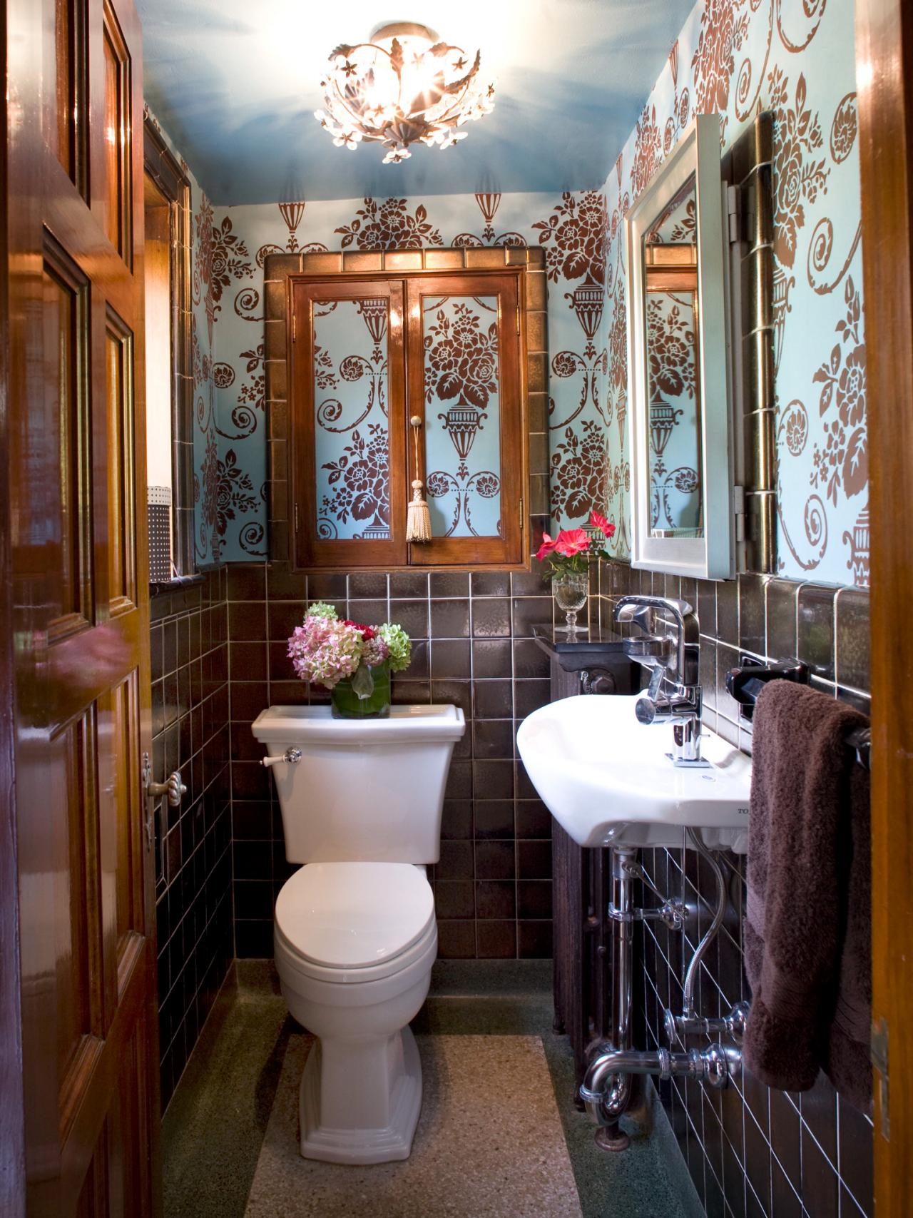 Traditional Powder Room With Brown-and-Blue Wallpaper