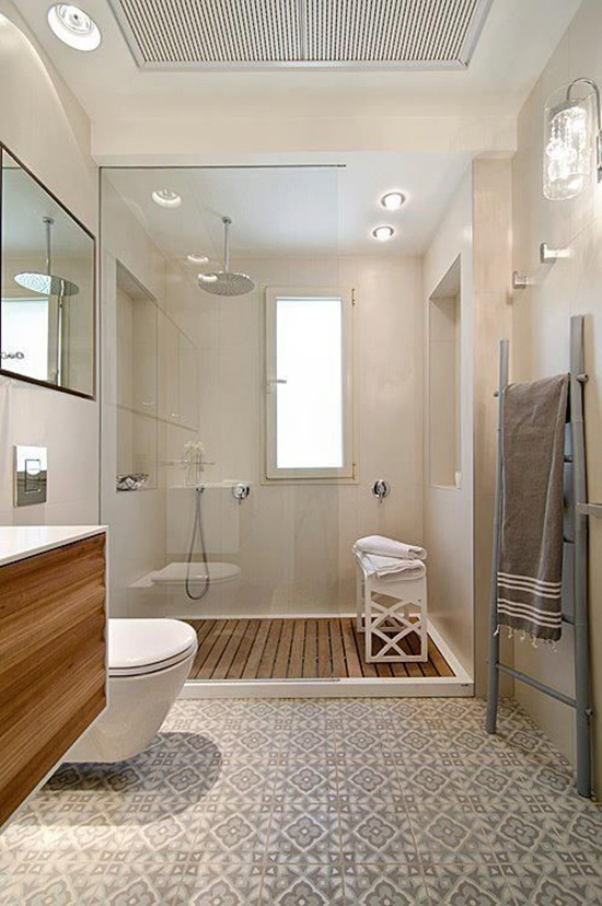 Modern bathroom with geometric tiled floor