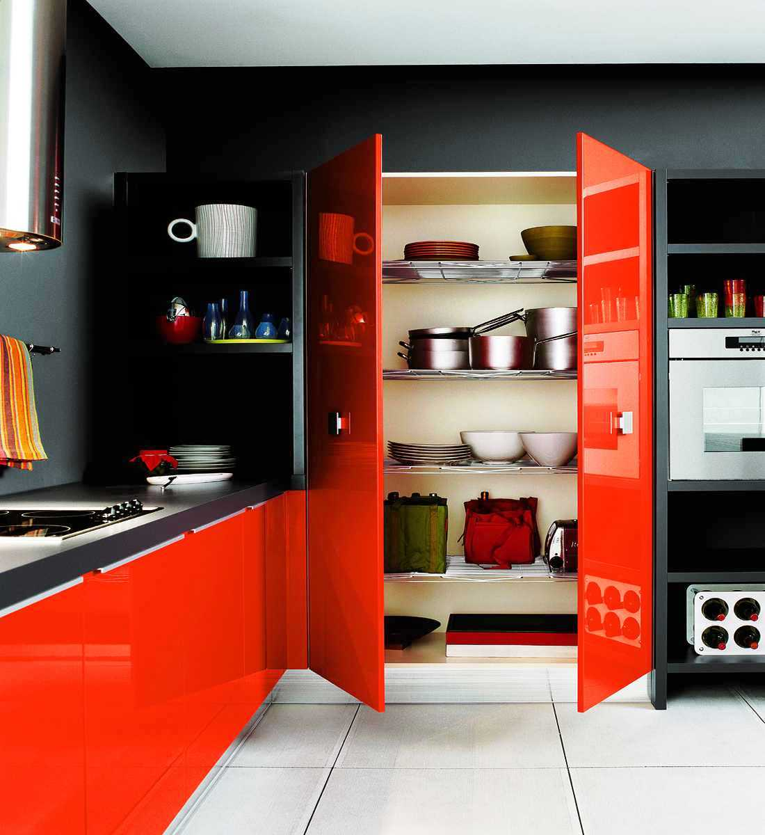 Modern Kitchen Cabinet Colors. Poppy Orange And Ebony Modern Kitchen  Cabinet Colors