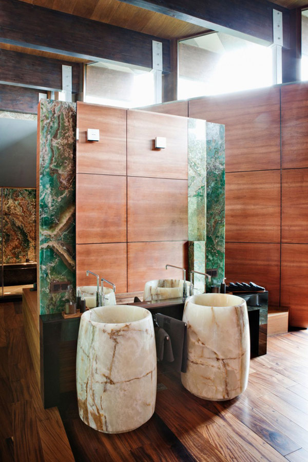 Exotic Bathroom Marble Vanity Modern House Near Moscow