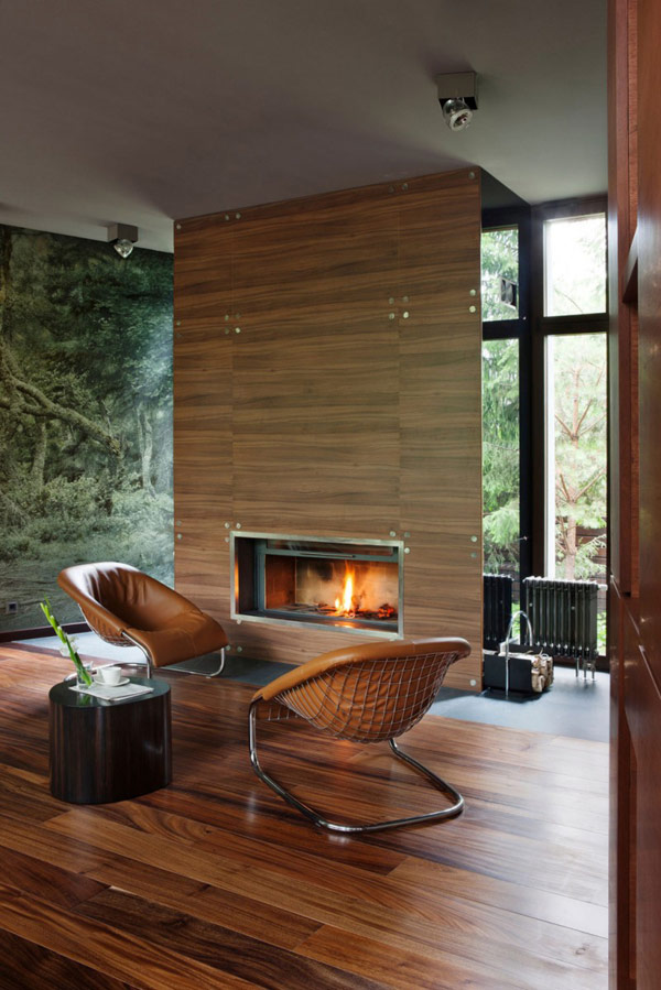 Stylish Family Room with Fireplace Modern House Near Moscow