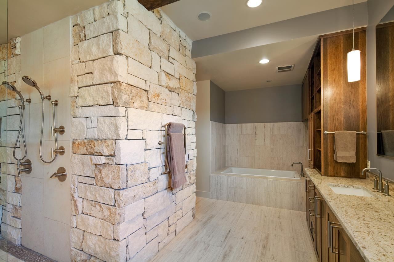 Stone-Wall Master Bathroom
