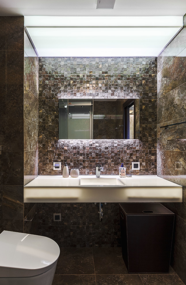 Brown Tile Contemporary Bathroom
