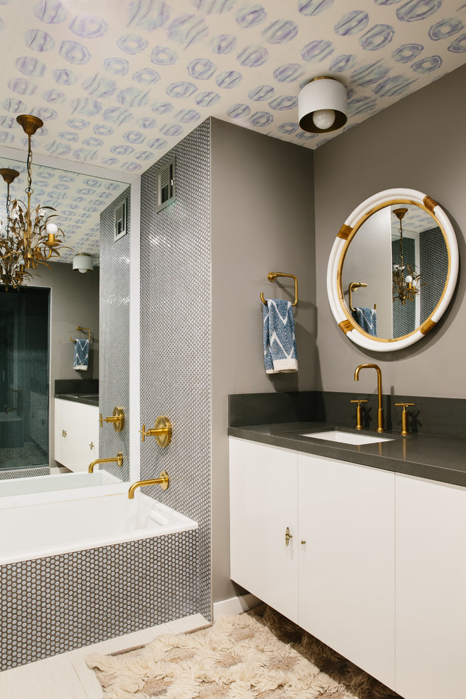 Contemporary Bathroom With Gold Fixtures