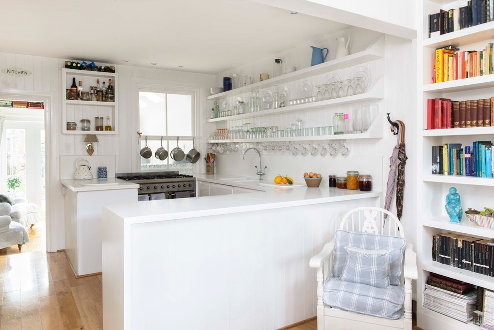 All White Beach Style Kitchen Design