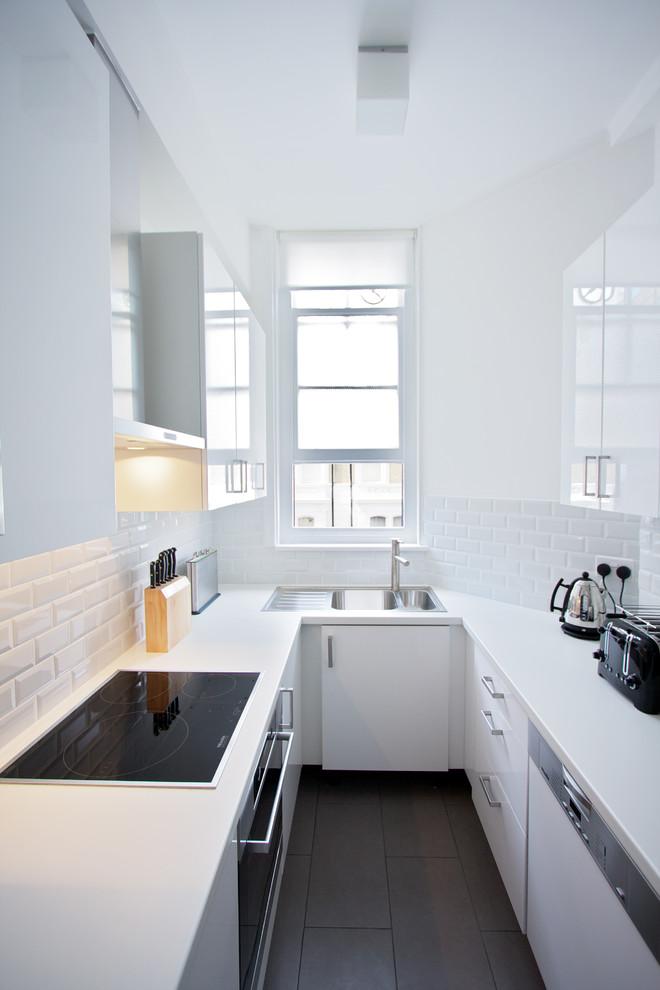 All White Contemporary Kitchen Design