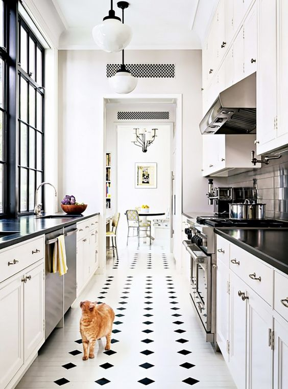 All White Galley Kitchen Design