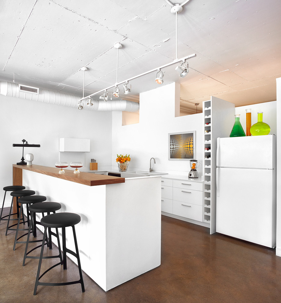 All White Industrial Kitchen Design
