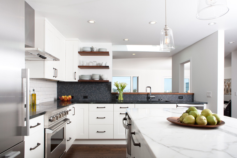 All White Midcentury Kitchen Design