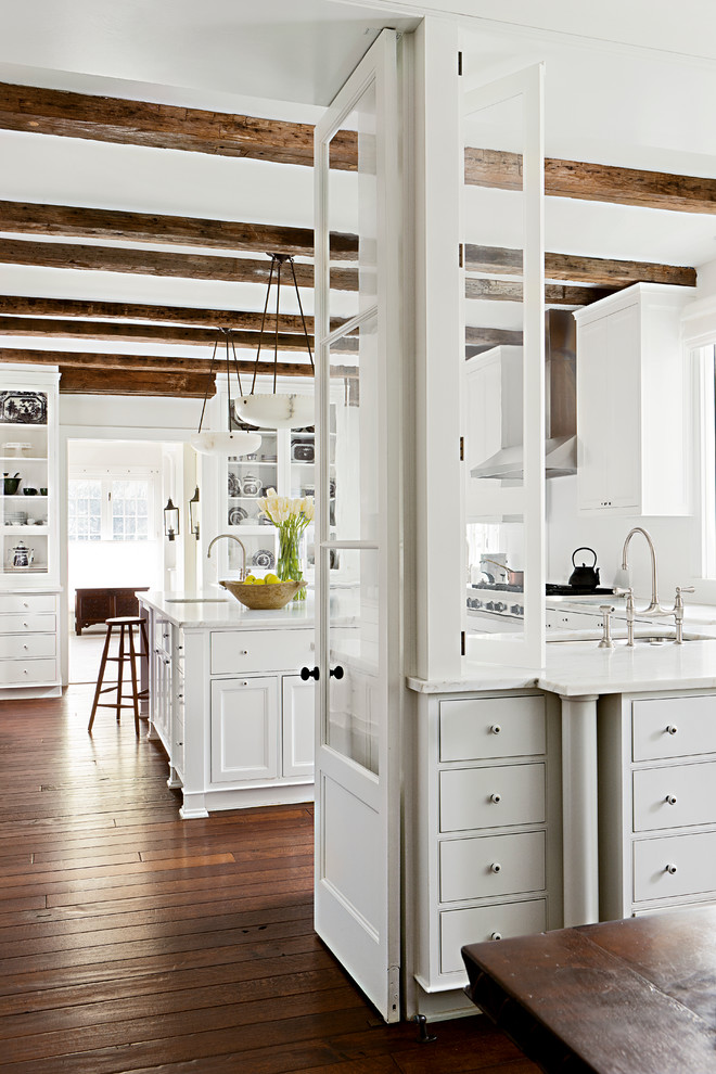 All White Rustic Kitchen Design