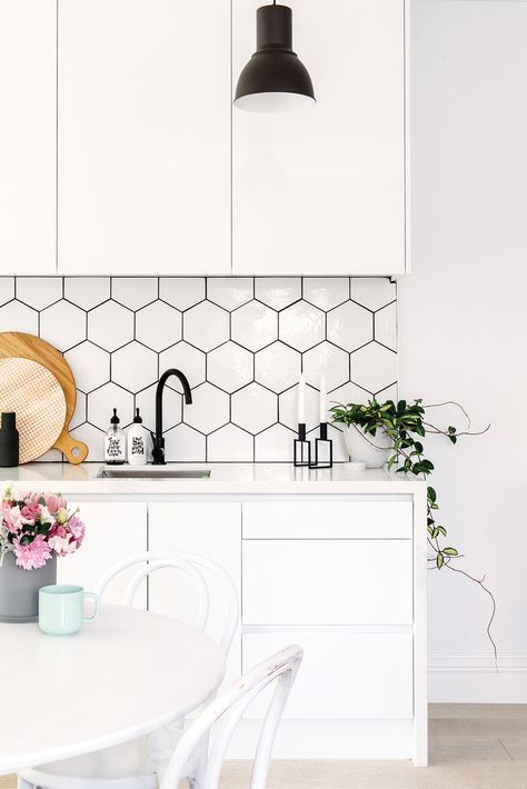 All White Small Kitchen Design