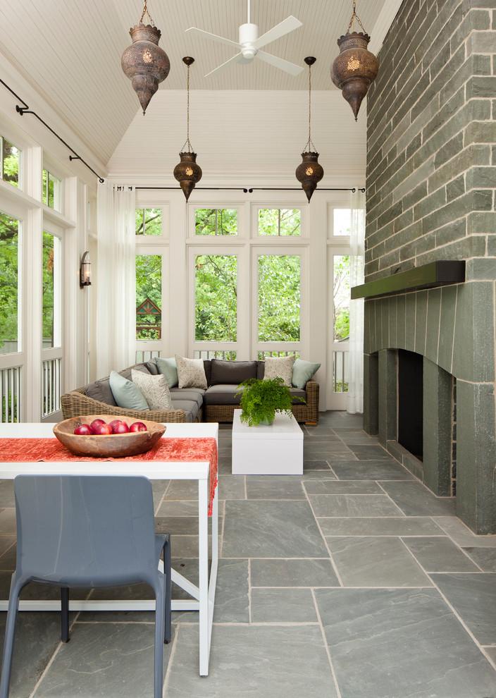 Beach Style Backyard Porch Design
