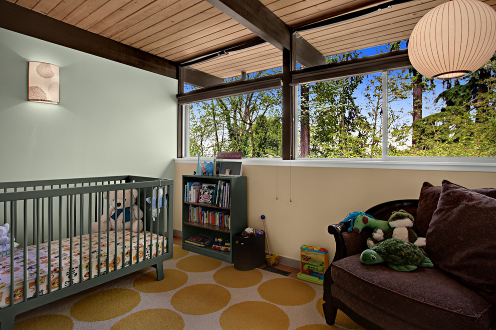 Iron Crib in Midcentury Kids Bedroom