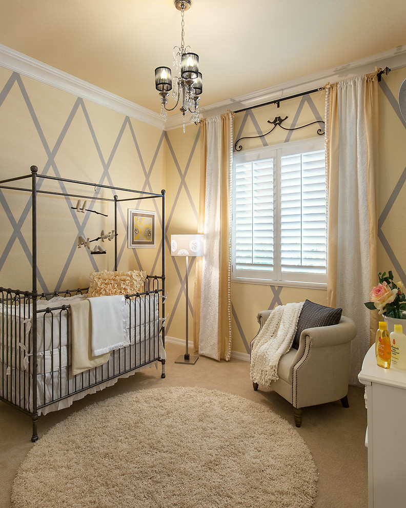 Iron Crib in Transitional Kids Bedroom
