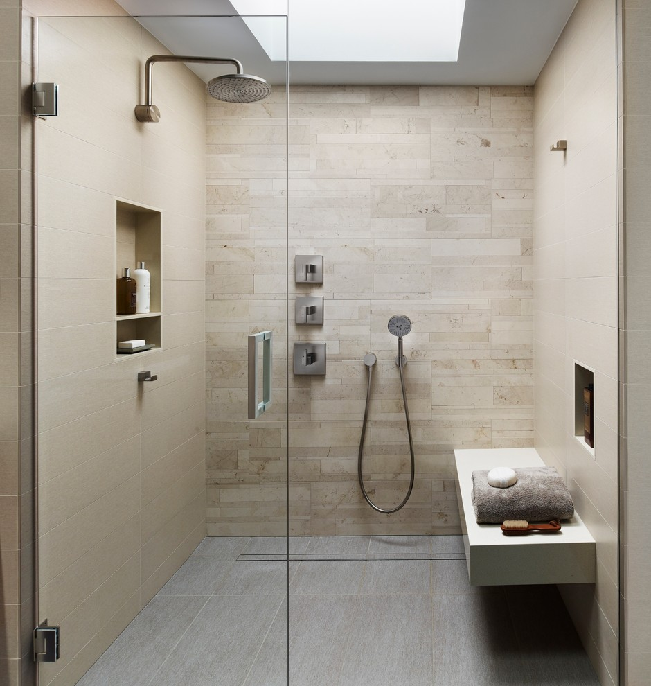 Modern Bathroom Design With Beige Tile