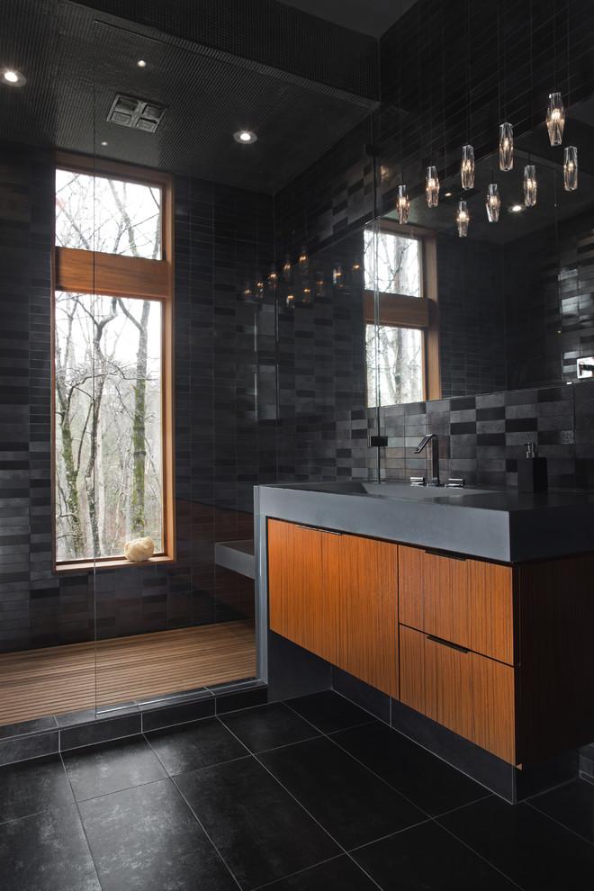 Modern Bathroom Design With Black Floors