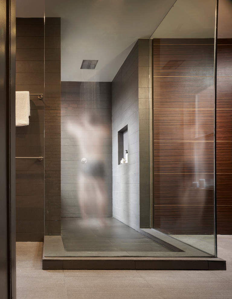 Modern Bathroom Design With Brown Tile
