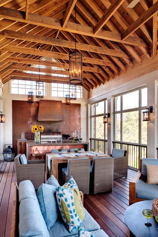 Transitional Backyard Porch Design