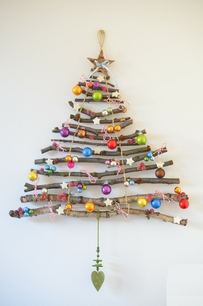 DIY Hanging Stick Christmas Tree