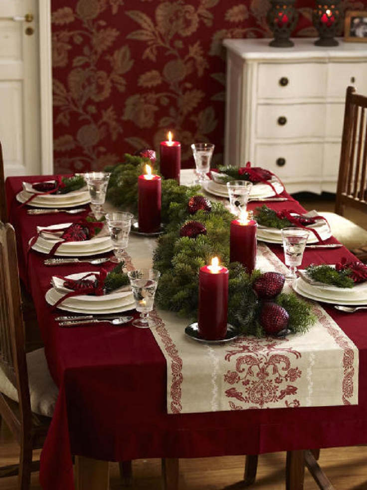 christmas table setting idea - Cheap Christmas Table Decorations