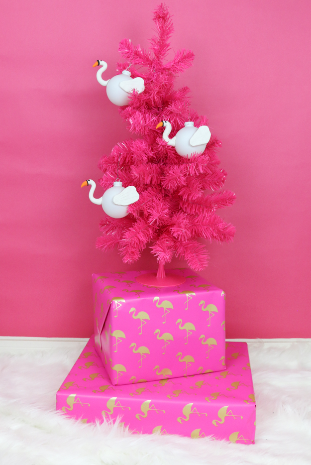 DIY Flamingo and Swan Pool Float Ornaments