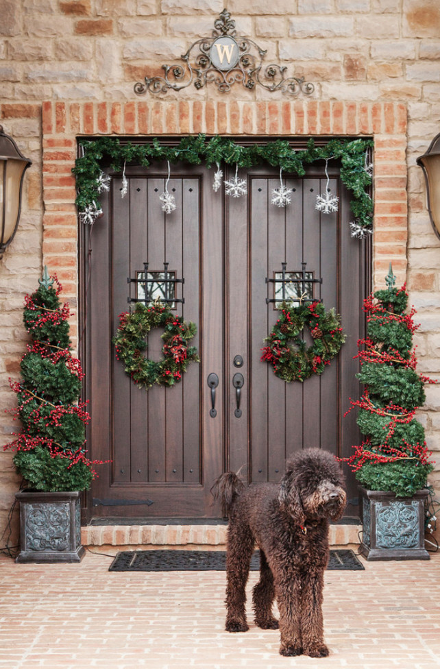 front porch christmas decorating ideas - Front Door Entrance Christmas Decoration