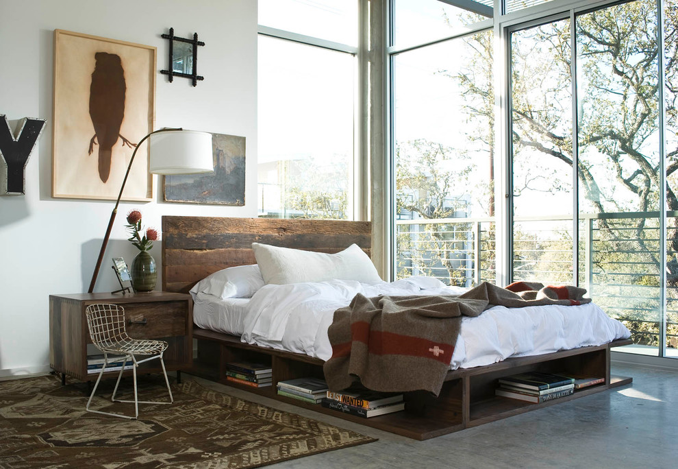 Open-concept-industrial-bedroom