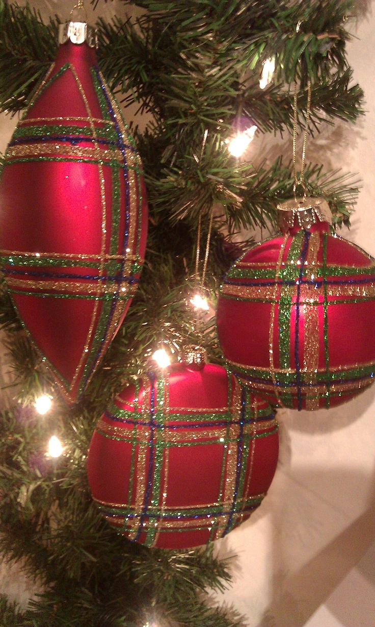 Red Plaid Christmas Ornaments