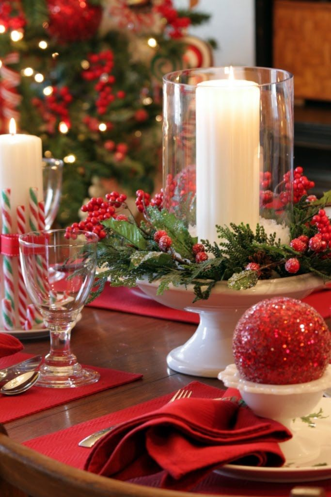 Red and Green Christmas Table Centerpiece