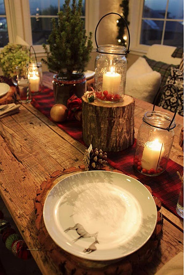 rustic christmas table decor - Rustic Christmas Table Decorations