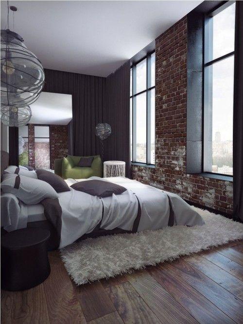 Warm Loft Style Bedroom