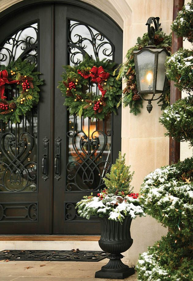 Christmas Front Door Ideas Part - 24: Double Front Door Christmas Decorations