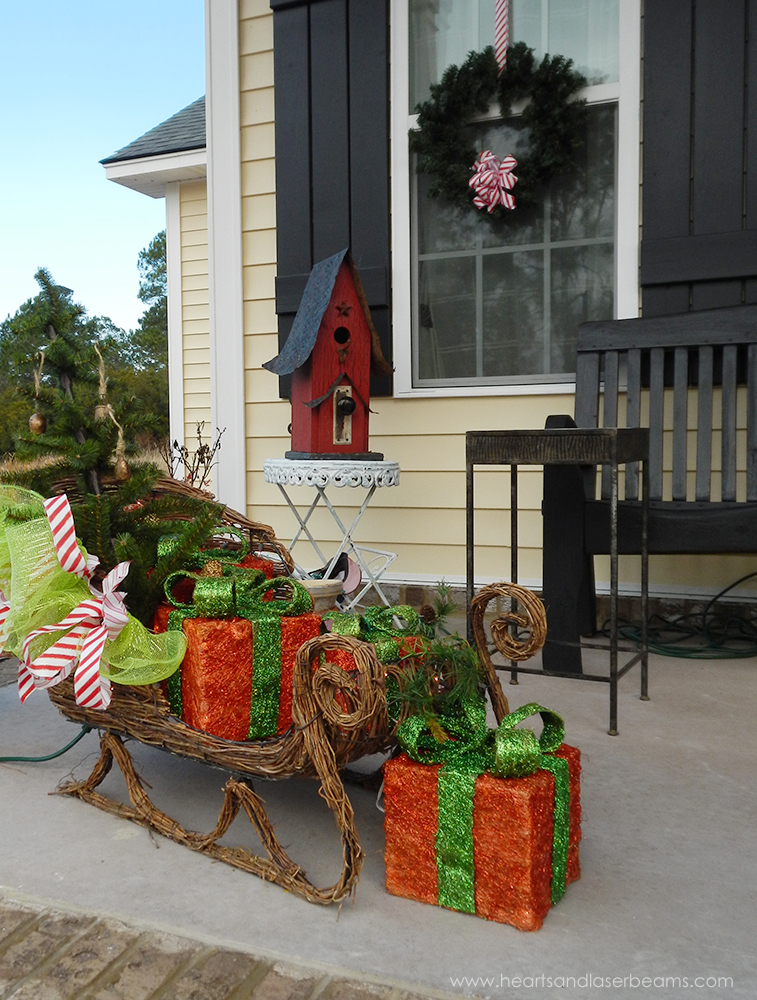 front porch christmas sleigh - Christmas Porch Decor
