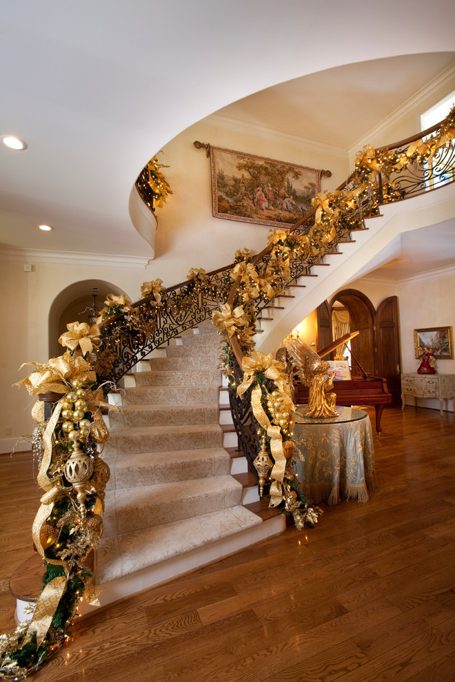 Ribbon Christmas Staircase Decorating Ideas