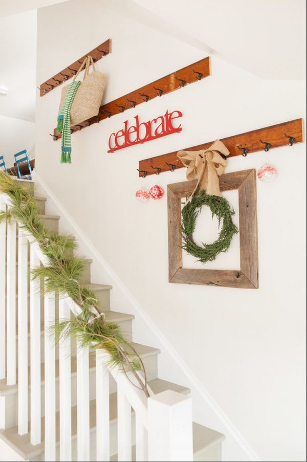 Rustic Christmas Staircase Decorations