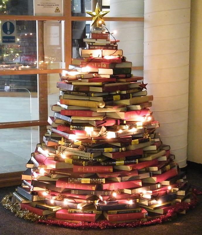 christmas tree made of library books thewowdecor - Library Christmas Decorations