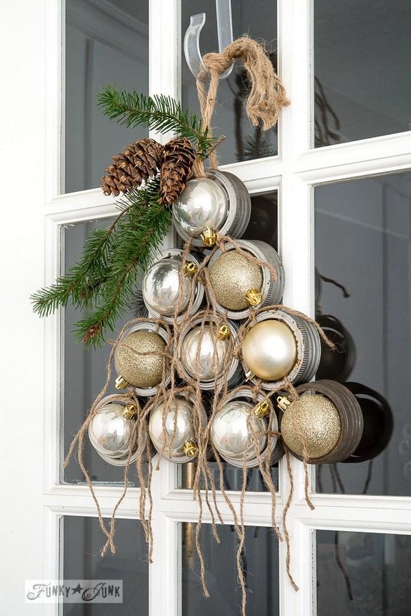 DIY Mason Jar Lid Ornament Christmas Wreath Thewowdecor