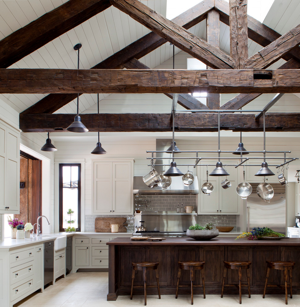 Large U-shaped Farmhouse Kitchen