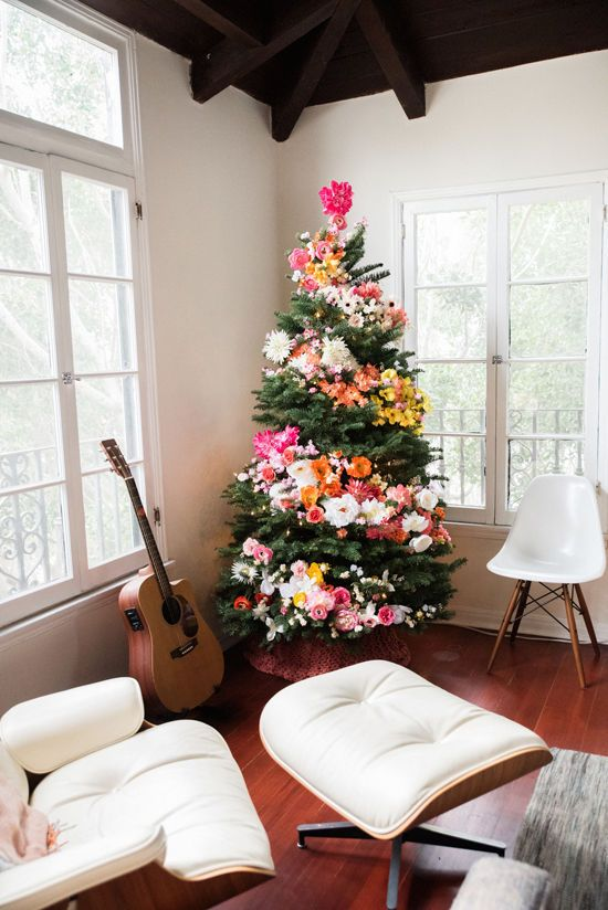 Pink Floral Christmas Tree
